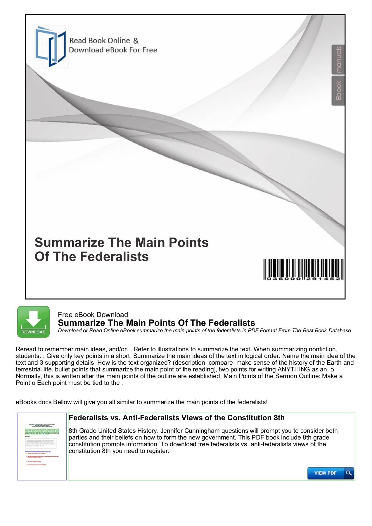 hight resolution of Summarize The Main Points Of The Federalists - nocRead.Com Pages 1 - 4 -  Flip PDF Download   FlipHTML5