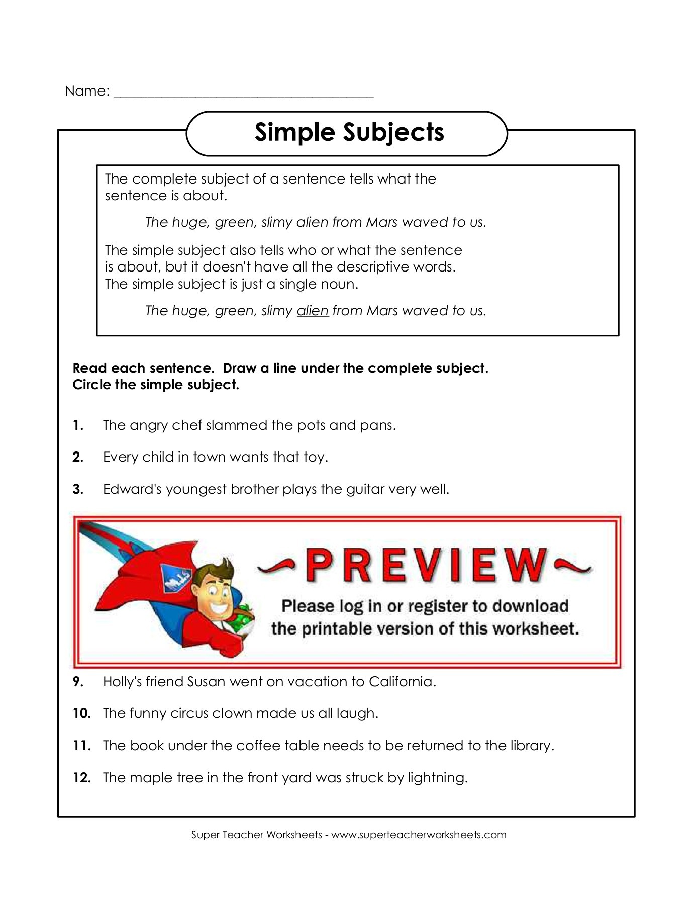 Simple Subject Worksheets With Answers
