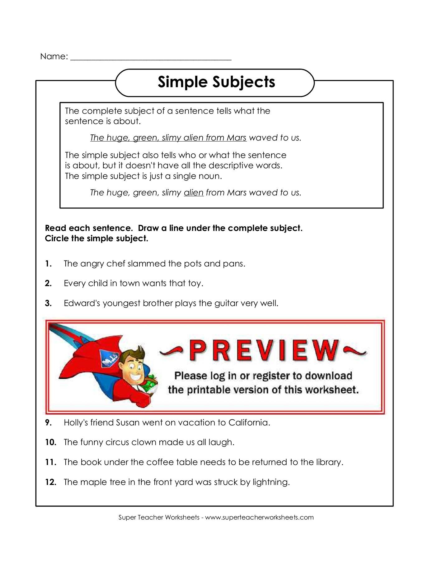 Super Teacher Worksheets Answer