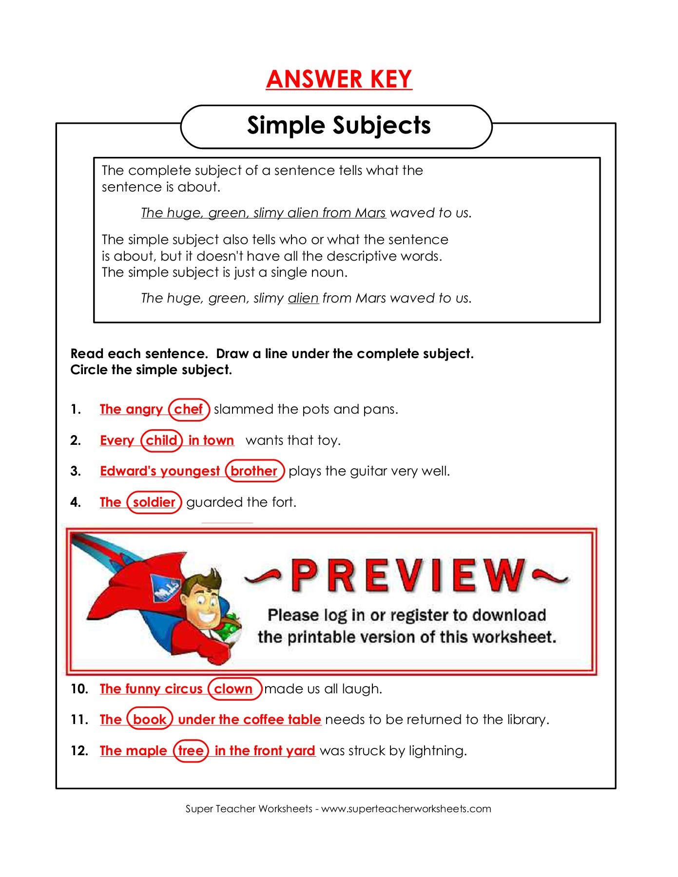 Super Teacher Worksheets Answer