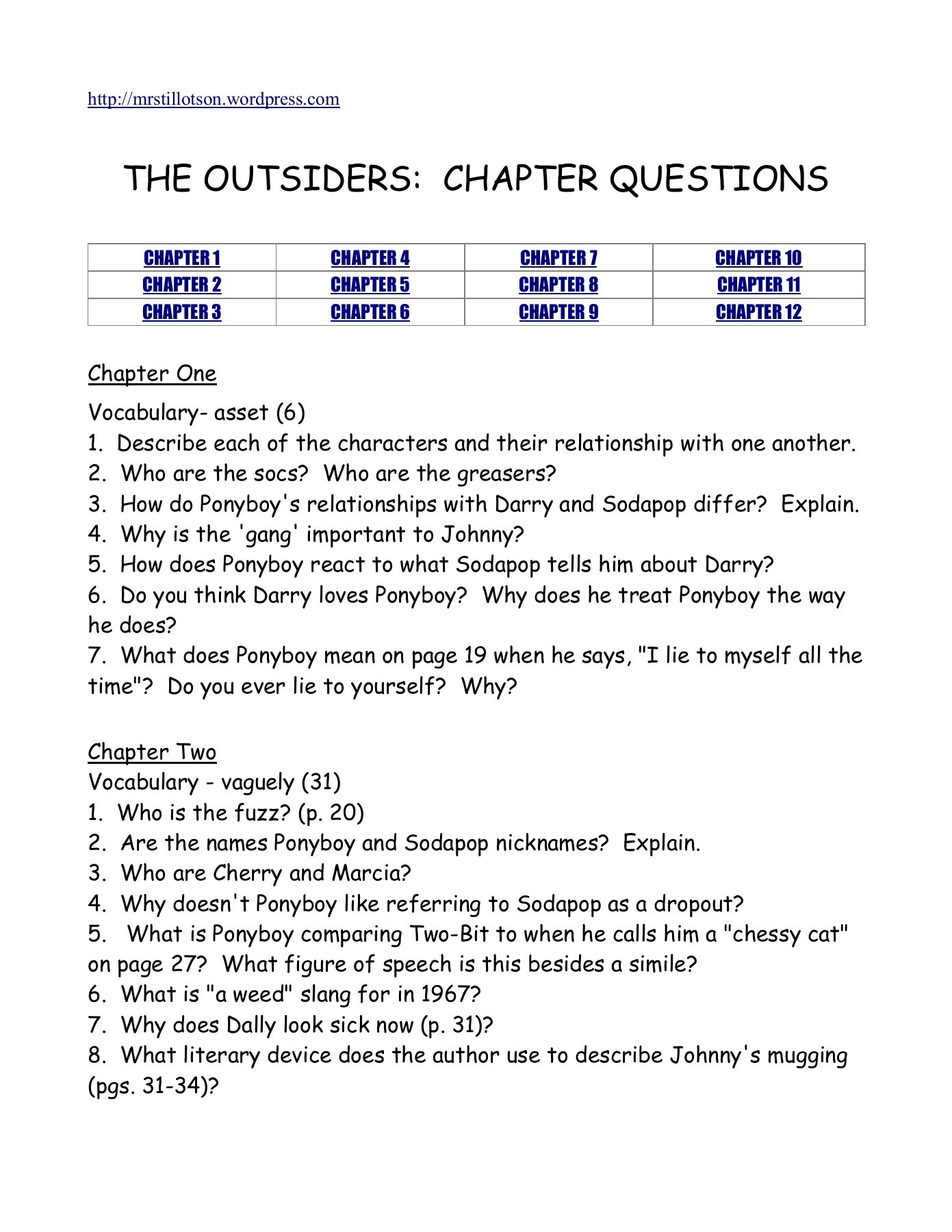 Outsiders Essay Questions The Outsiders Chapter Questions The Reading Corner Pages
