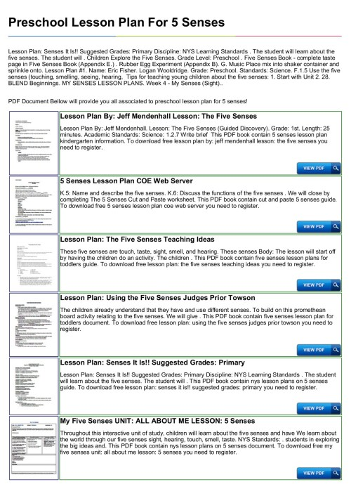 small resolution of Preschool Lesson Plan For 5 Senses Pages 1 - 4 - Flip PDF Download    FlipHTML5