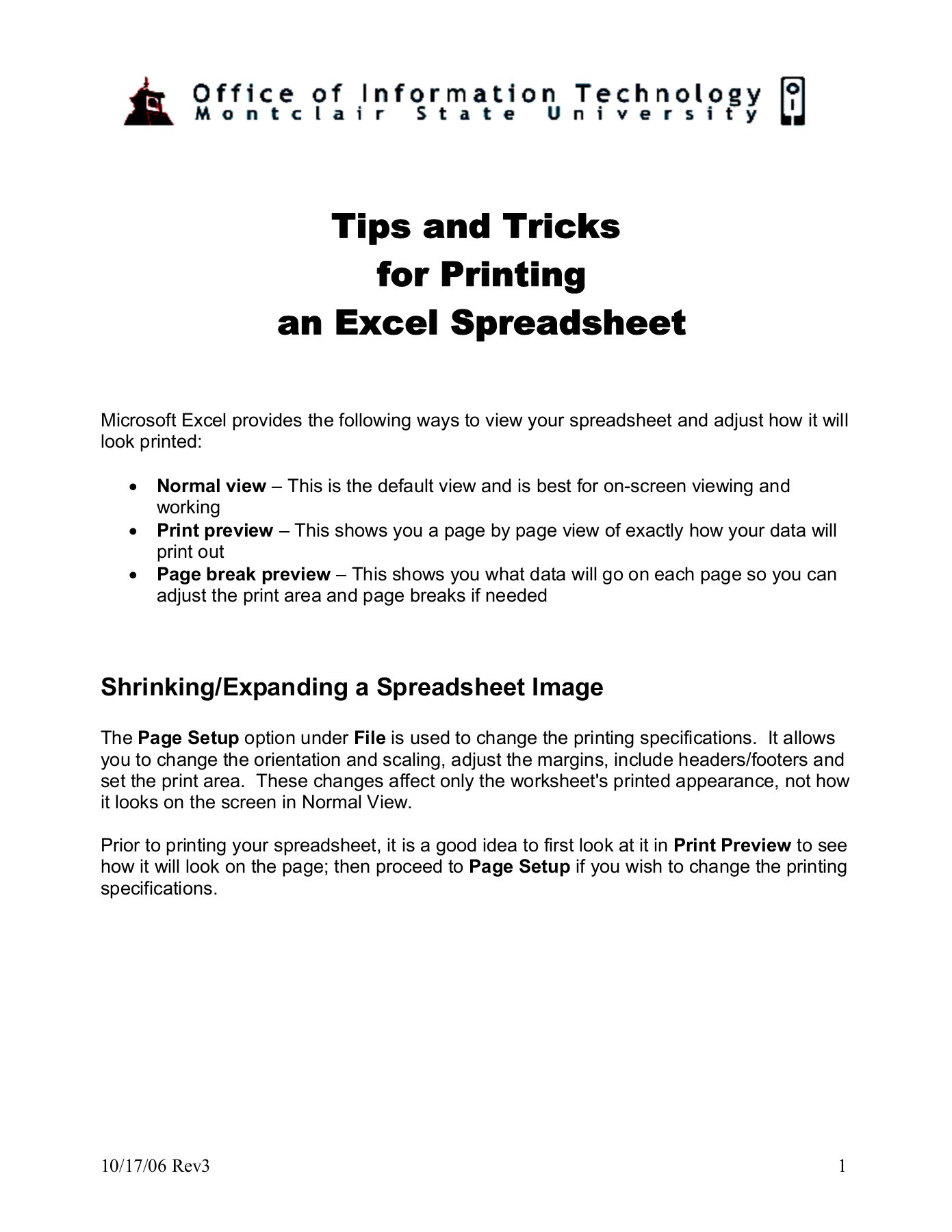 Excel - Tips and Tricks for Printing an Excel Spreadsheet ...