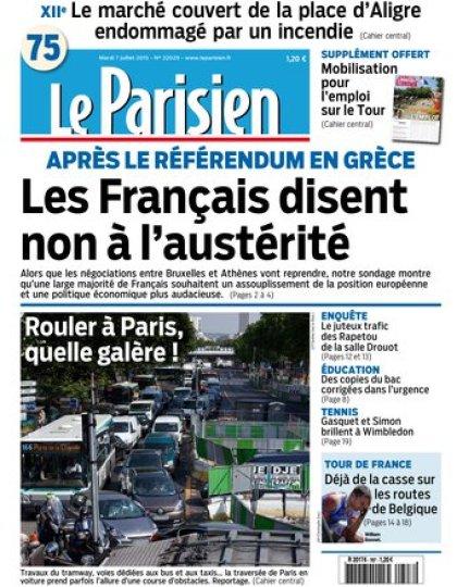 Le Parisien + Journal de Paris du mardi 07 juillet 2015