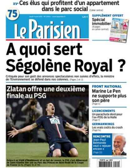 Le Parisien + journal de Paris du jeudi 09 avril 2015
