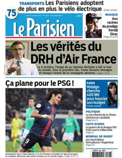 Le Parisien + Journal de Paris du lundi 26 octobre 2015