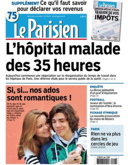 Le Parisien + Journal de Paris du mercredi 06 mai 2015