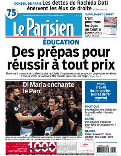Le Parisien + journal de Paris du mercredi 16 septembre 2015