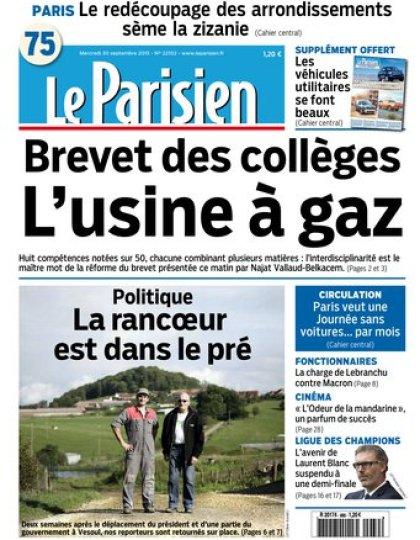 Le Parisien + Journal de Parisdu mercredi 30 septembre 2015