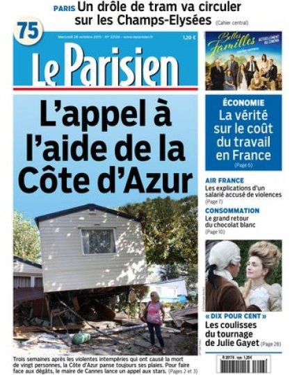 Le Parisien + Journal de Paris du mercredi 28 octobre 2015