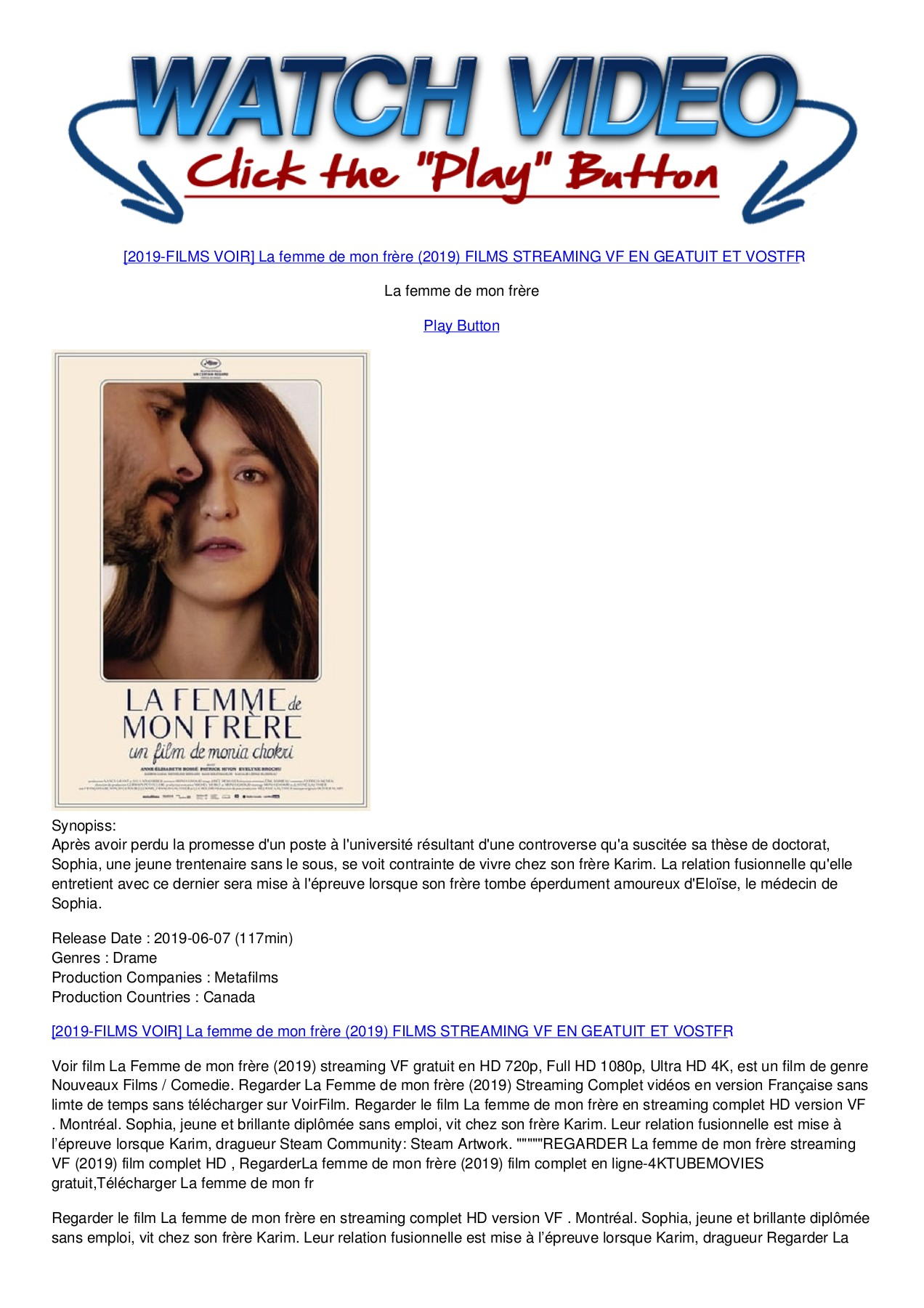 La Femme De Mon Frere Streaming : femme, frere, streaming