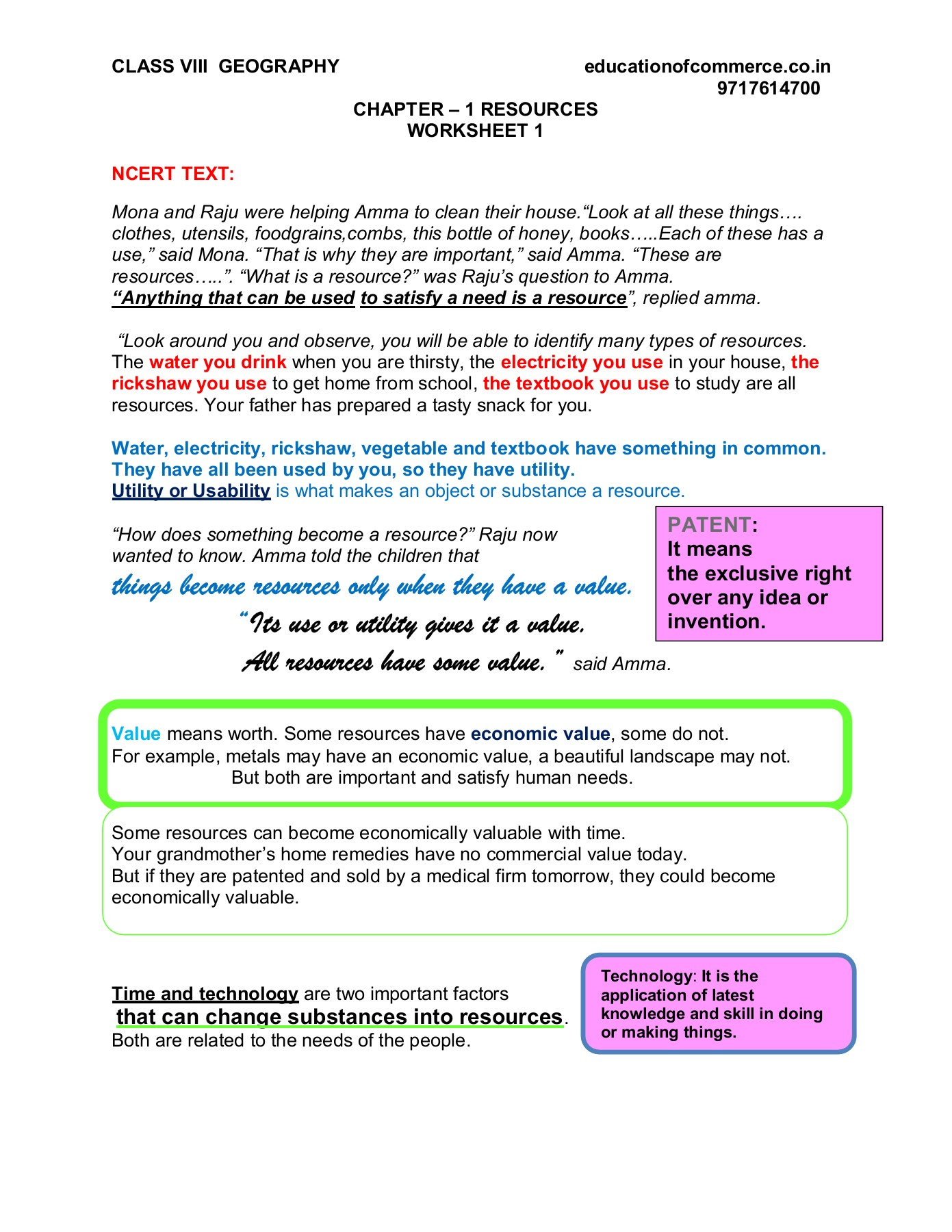 Worksheet 1 - Geography (Grade VIII) - Chapter - 1 (Resources) - Topic  Utility [ 1800 x 1391 Pixel ]