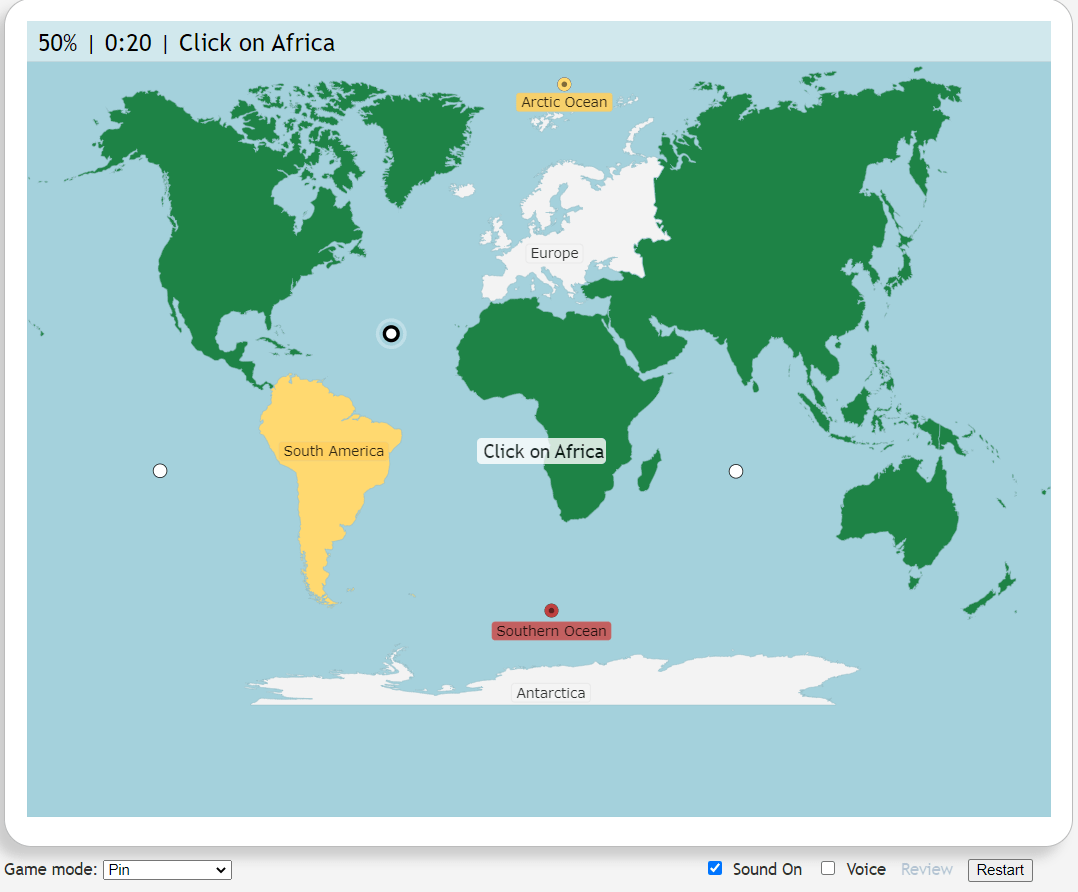 the average depth of the ocean is 12,400 feet. World Continents And Oceans Map Quiz Game