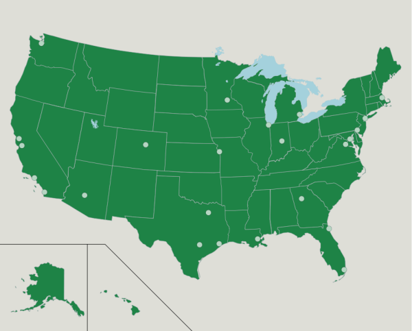 The US Major Cities Map Quiz Game