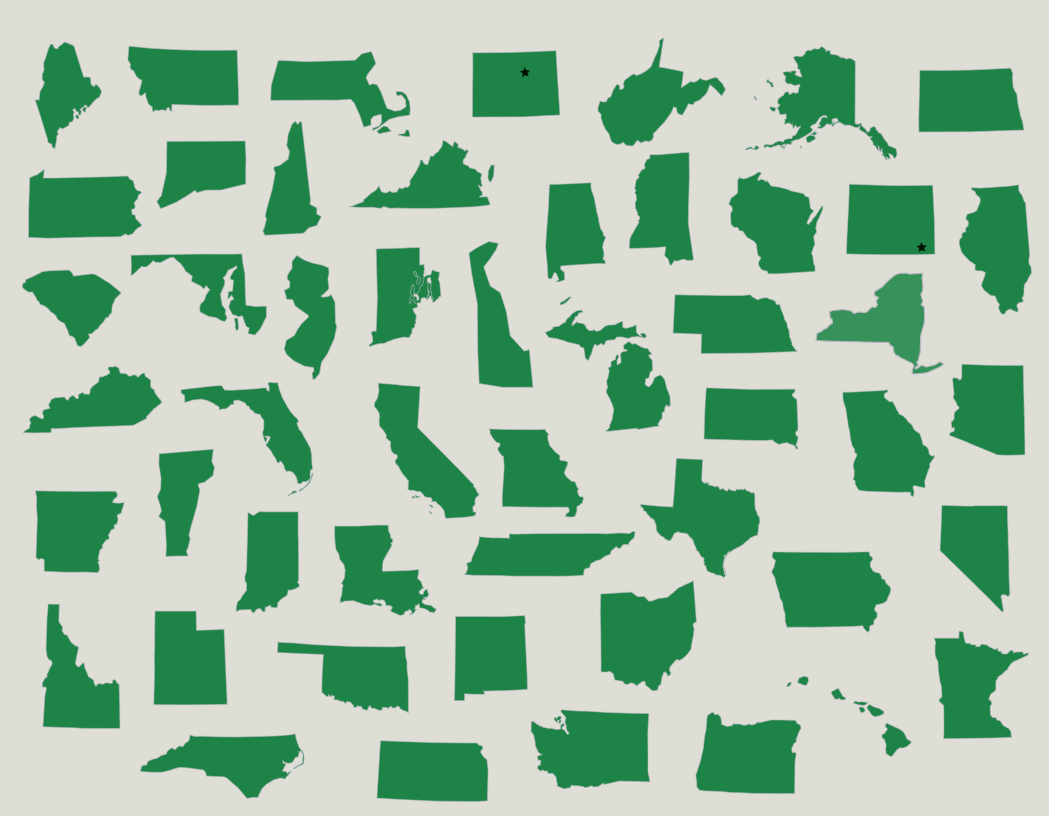 The U S 50 States Outlines