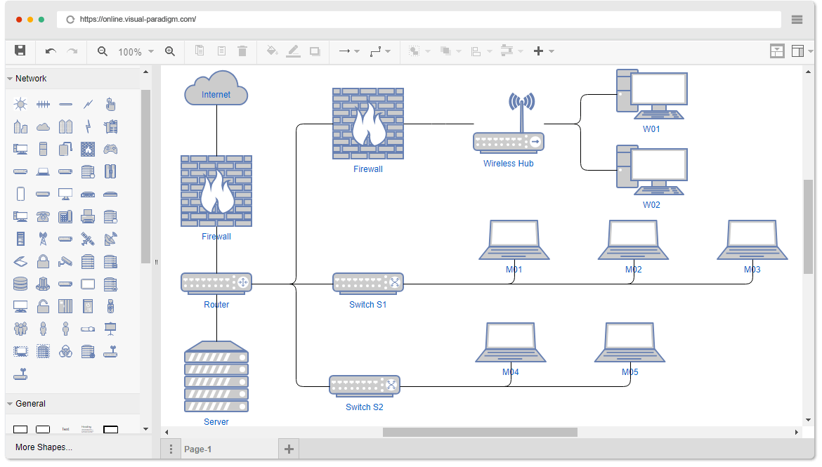 software to create network diagram bowling lane dimensions example office drawn with the online