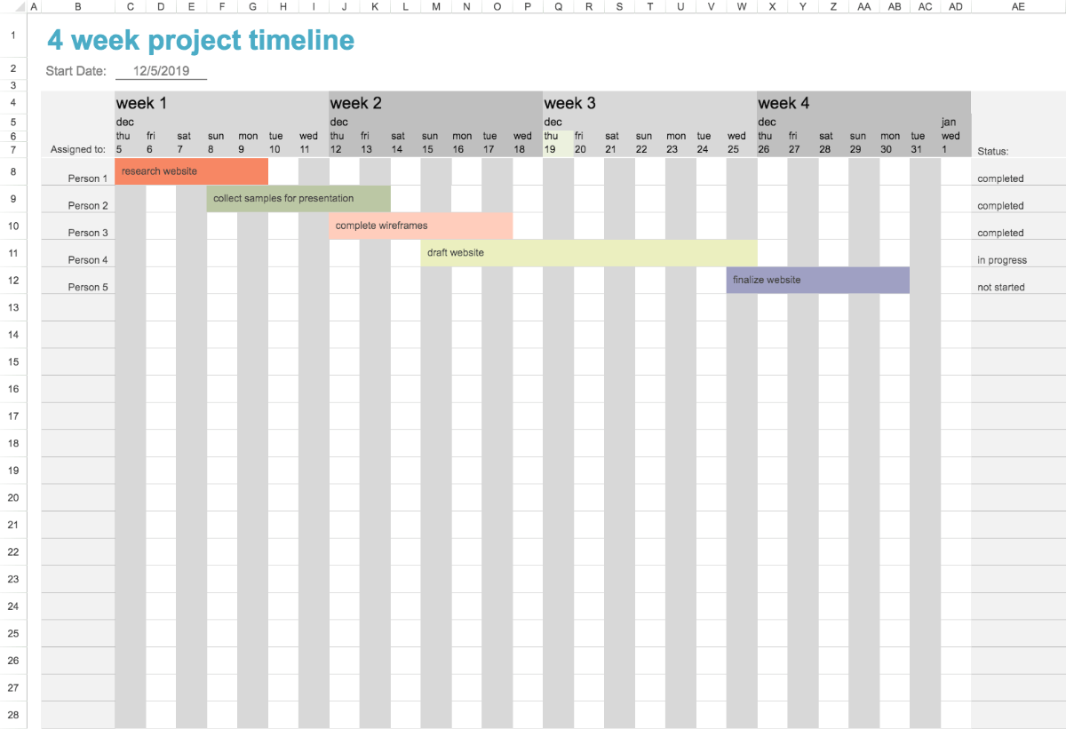 Track project deadlines and status with this accessible timeline template. Four Week Project Timeline Template Visual Paradigm Tabular