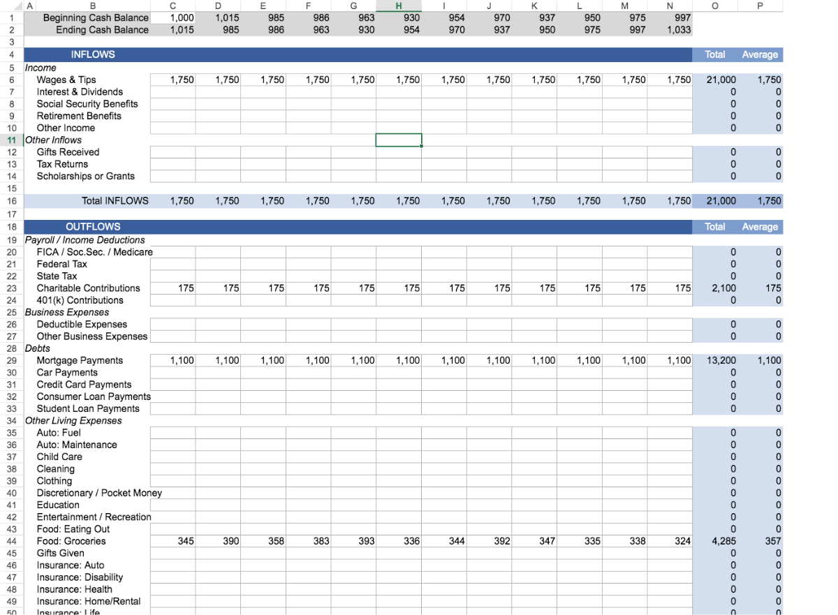Monthly Cash Flow Worksheet Template