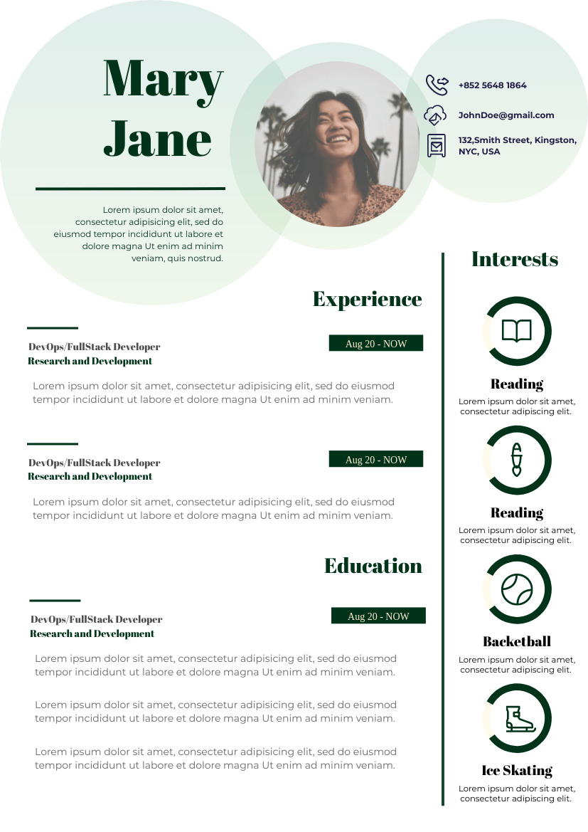 With adobe spark, choose from dozens of resume templates online to help you easily create your own. Dark Green Resume Resume Template
