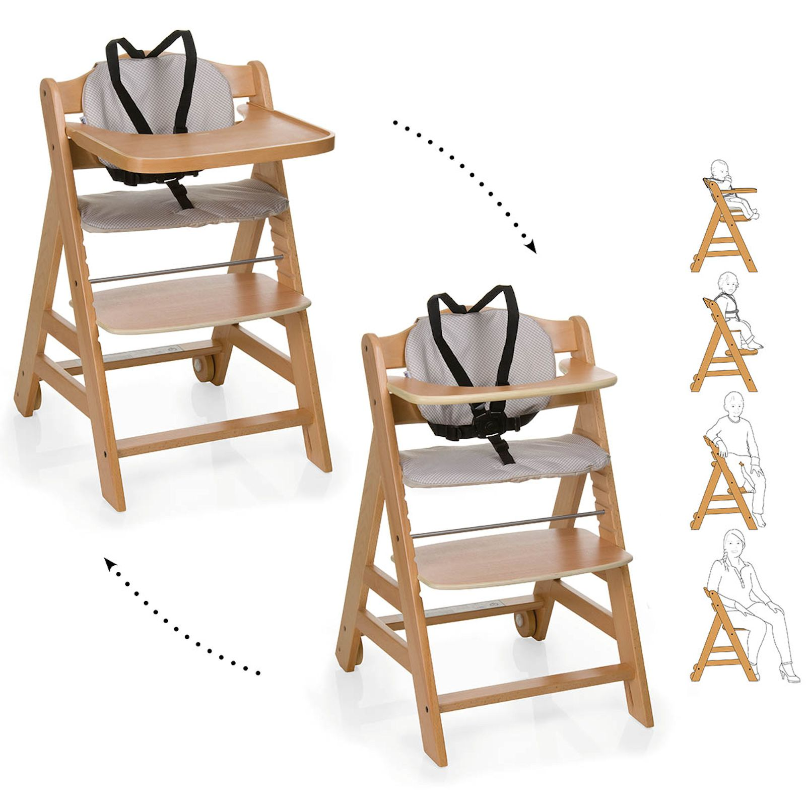Wooden High Chair Hauck Beta 43 Wooden Highchair Natural Buy At Online4baby