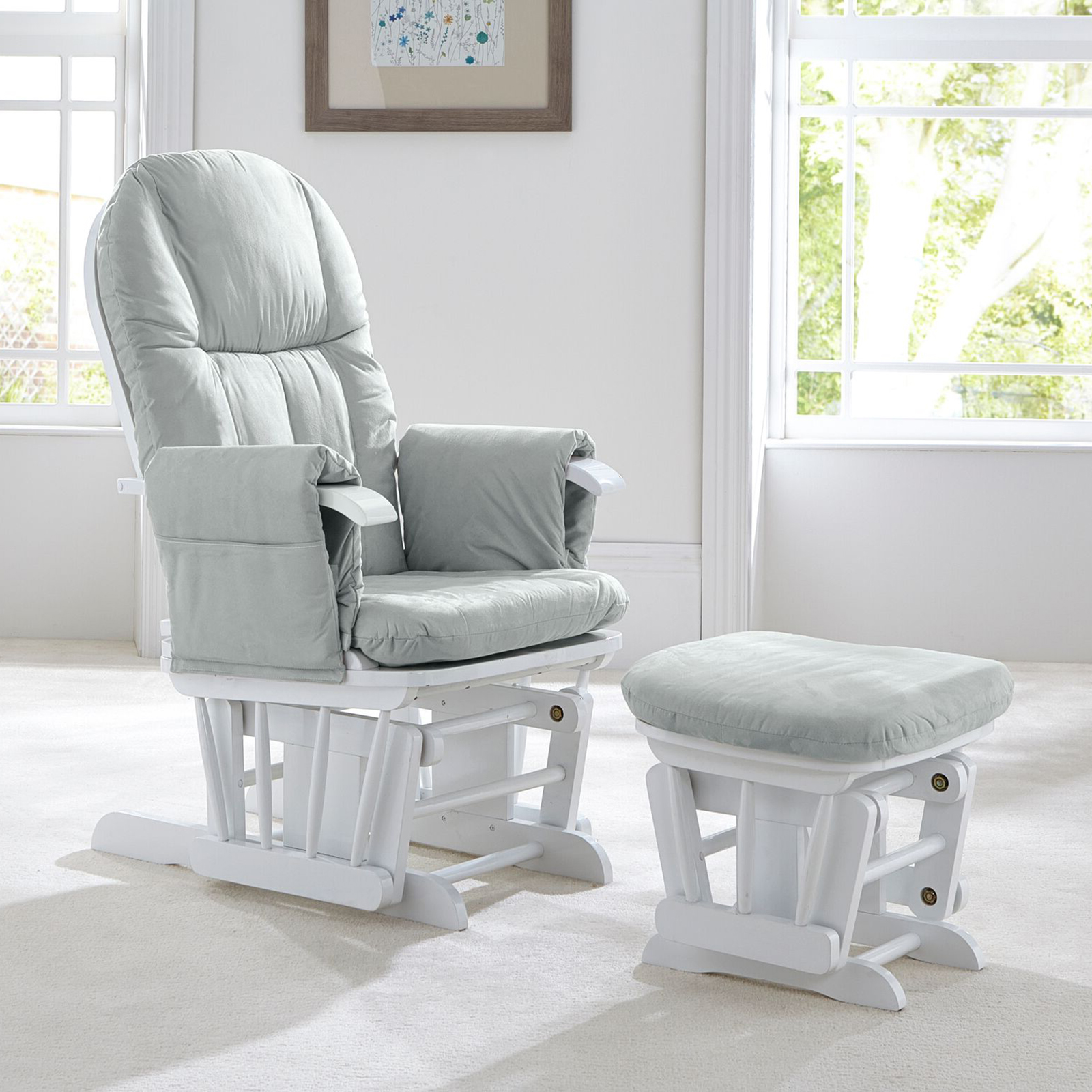 Gray Chair Cushions Tutti Bambini Gc35 Reclining Glider Nursing Chair And Stool