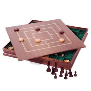 EDE854033-Ξύλινο Σετ Μαόνι Σκάκι, Ντάμα, Τρίλιζα Didatto 446621 | Online 4U Shop
