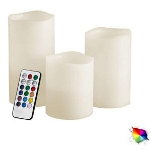 HGF250005-Διακοσμητικά Κεριά 3 τεμ LED με Τηλεχειριστήριο RGB GloboStar 22800 | Online 4U Shop