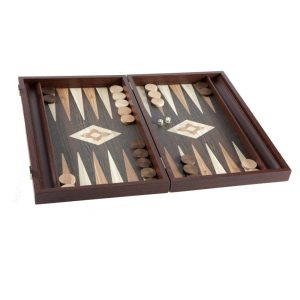 EDE900004-01 Χειροποίητο τάβλι - Απομίμηση από ξύλο wenge με πλαϊνές θήκες