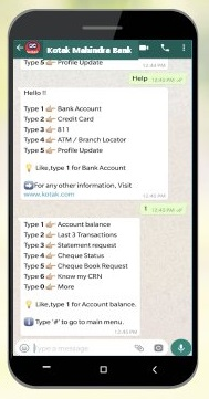 kotak bank whatsapp banking,