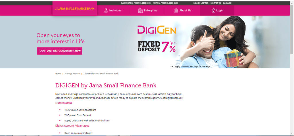 digigen jana bank savings account