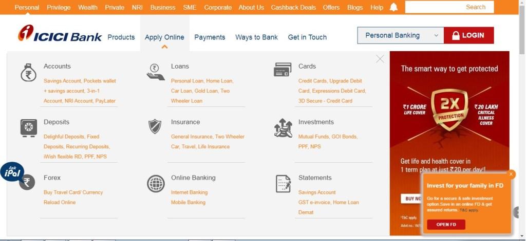ICICI Bank zero balance account