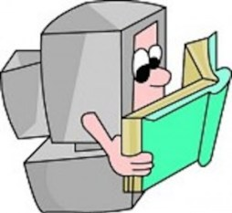 Cartoon of a desktop computer reading a book