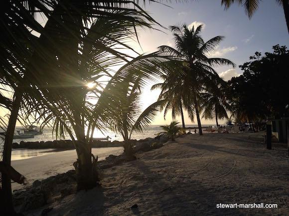 Setting sun on Worthing Beach, Barbados