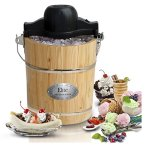 6-Quart-Brown-Old-Fashioned-Pine-Bucket-ElectricManual-Ice-Cream-Maker-0-0