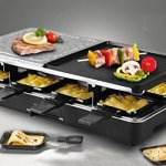 Artestia-Raclette-Party-Grill-with-Two-Half-Top-Plates-Cast-Aluminum-Reversible-Grill-Plate-and-High-Density-Granite-Grill-Stone-Serve-8-Persons-0-1