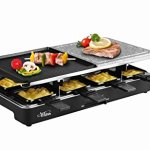 Artestia-Raclette-Party-Grill-with-Two-Half-Top-Plates-Cast-Aluminum-Reversible-Grill-Plate-and-High-Density-Granite-Grill-Stone-Serve-8-Persons-0