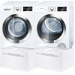 Bosch-800-Series-White-Front-Load-Compact-Laundry-Pair-with-WAT28402UC-24-Washer-WTG86402UC-24-Electric-Condensation-Dryer-and-2-WMZ20490-Pedestals-0