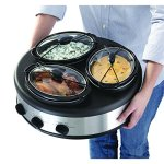 Chefman-Triple-Slow-Cooker-Buffet-Server-with-3-Removable-15-Quart-Oval-Crocks-Pot-Inserts-are-Individually-Heat-Controlled-with-Locking-Lid-Straps-Spoon-and-Lid-Rests-45-qt-total-capacity-Stainless-S-0