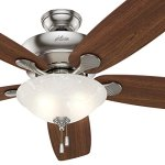 Hunter-Fan-60-Ceiling-Fan-in-Brushed-Nickel-with-Swirled-Marble-Glass-Light-Kit-5-Blade-Certified-Refurbished-0