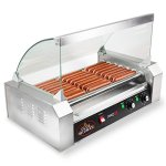 Olde-Midway-Electric-18-Hot-Dog-7-Roller-Grill-Cooker-Machine-900-Watt-with-Cover-Commercial-Grade-0