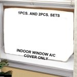 Window-Air-Conditioner-Cover-Windowthru-Wall-2PC-SET-OutdoorIndoor-27W-18H-22D-and-27W-18H-4D-White-0-1
