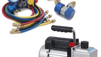 ARKSEN© 4CFM Rotary Vacuum Pump 1/3HP w/ AC Manifold Gauge Set R410