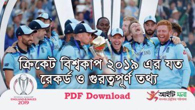 ইংল্যান্ড ক্রিকেট বিশ্বকাপ ২০১৯ এর যত রেকর্ড ও গুরত্বপূর্ণ তথ্য|World Cup Cricket Team Records & Stats 2019 PDF Download