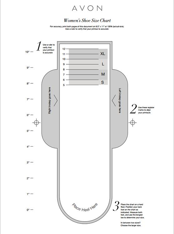 10773c88cf89 Avon Shoe Size Chart for Women