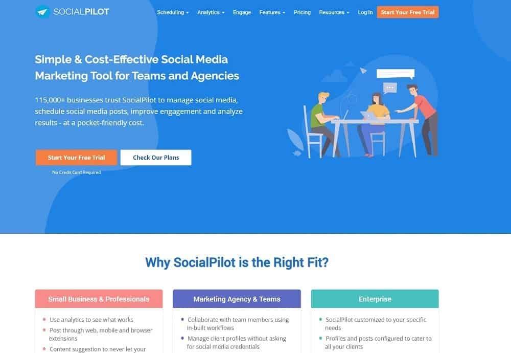 mejor plataforma de redes sociales - socialpilot