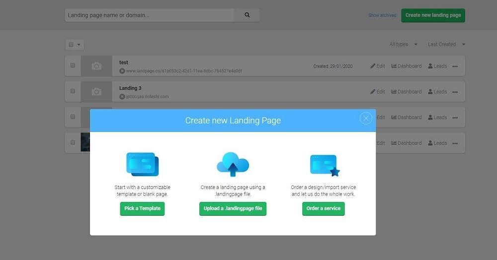 landingi create new landing page