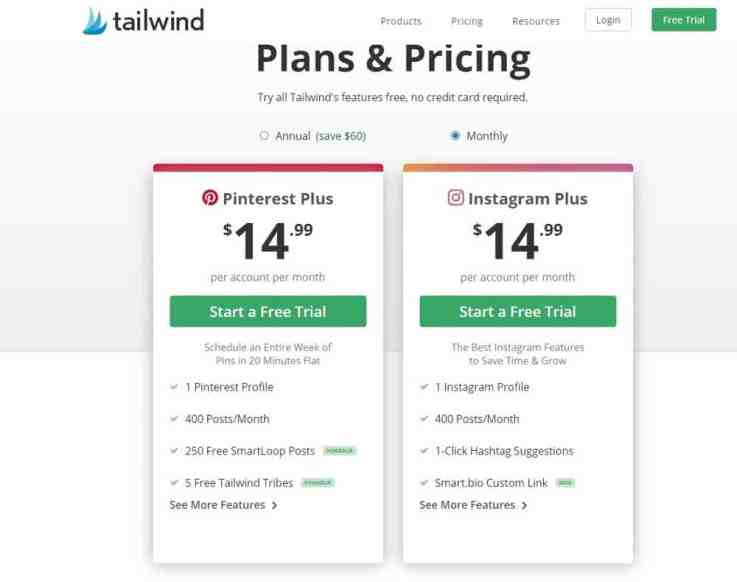 Tailwind pricing plans