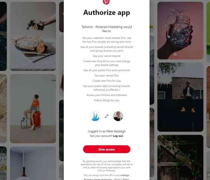 authorize Tailwind for Pinterest