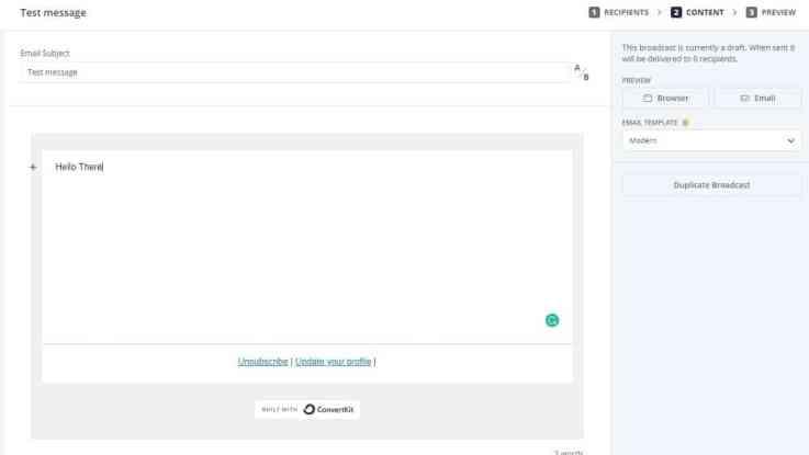 ConvertKit email editor