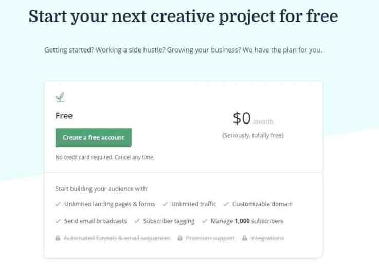 convertkit free plan